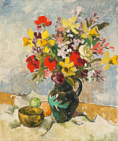 Gregoire Johannes Boonzaier, 'Still Life with Vase of Flowers, Bowl and Fruit', 1957