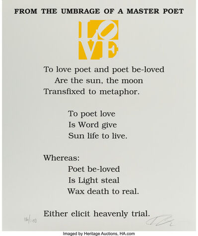 Robert Indiana, 'From the Umbrage of a Master Poet, from The Book of Love Portfolio', 1997