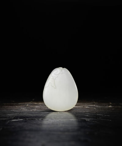 Unknown Chinese, 'A white jade pebble-form pendant 白玉雕「花間蝶影」佩', 1736-1795