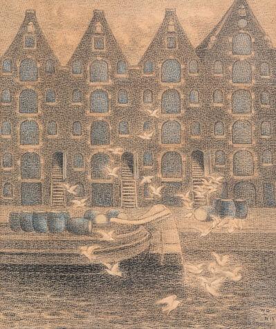 William Degouve de Nuncques, 'Pakhuizen aan de Brouwersgracht, Amsterdam (Warehouses on the Brouwersgracht, Amsterdam)', 1917