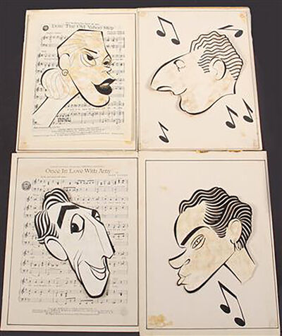 George Wachsteter, 'Four Caricatures for Layouts for Stars of Four Long-Running ca 1950 Broadwa', 1950