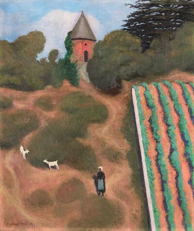 """Félix Vallotton, '""""Côte Roussie et Tourelle, Champtoceaux"""" -   Scorched Hillside with Tower near the Village of Champtoceaux', 1923"""