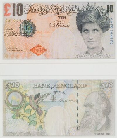 Banksy, 'Di-Faced Tenner, 10 GBP Note (two works)', 2005