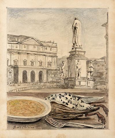 Giorgio de Chirico, 'Veduta di Milano con risotto e cacciagione', 1966