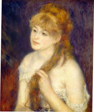 Pierre-Auguste Renoir, 'Young Woman Braiding Her Hair', 1876