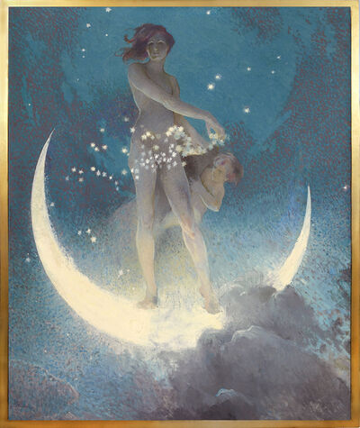 Edwin Blashfield, 'Spring Scattering Stars, Nude allegory scattering stars from a crescent moon upon Earth', 1927
