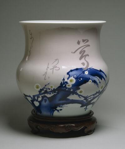 Miyagawa Kozan, 'Vase with Blossoming Plum and Short Poem', ca. 1904