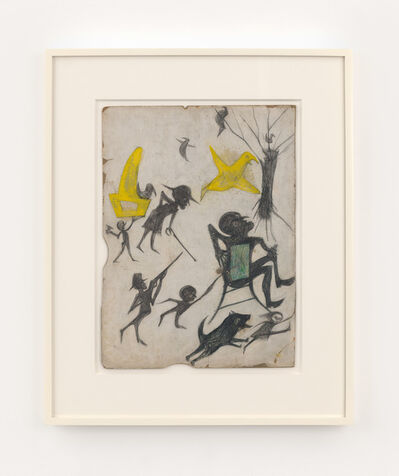 Bill Traylor, 'Exciting Event (Man on Chair, Man with Rifle, Dog Chasing Girl, Yellow Bird and Other Figures)', 1939-1942