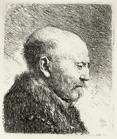 Rembrandt van Rijn, 'Bald Headed Man in Profile to the Right: Artist's Father', 1630