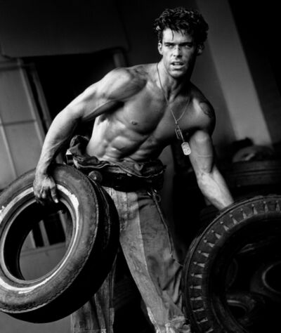 Herb Ritts, 'Fred with Tires VIII, Hollywood', 1984