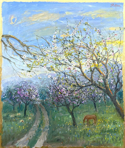 Bruno Zupan, 'Almond Fields, Sheep and Horse', 2021