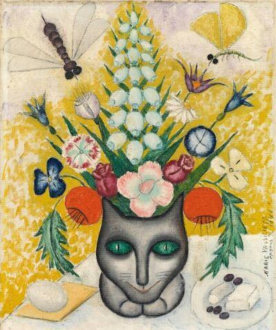 Marie Vassilieff, 'Bouquet de fleurs avec un chat', 1946