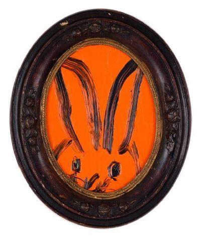 Hunt Slonem, 'Untitled, Oval Bunny on Vibrant Orange', 2019