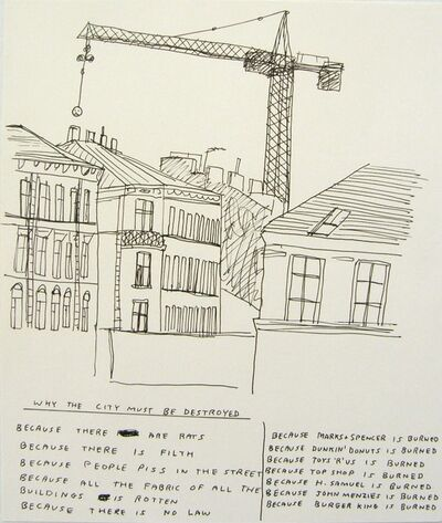 David Shrigley, 'Why the city must be destroyed', 1998
