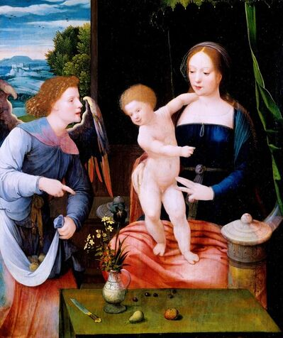 Master of the Female Half-Lengths, 'The Virgin and Child with an Angel', 1525-1550