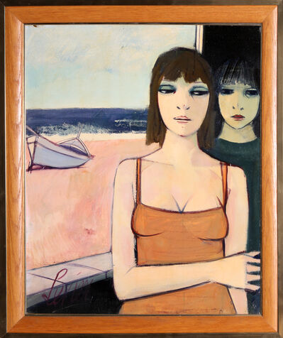 Charles Levier, 'Deux Jeune Filles (Two Young Girls), Oil Painting by Charles Levier', ca. 1965