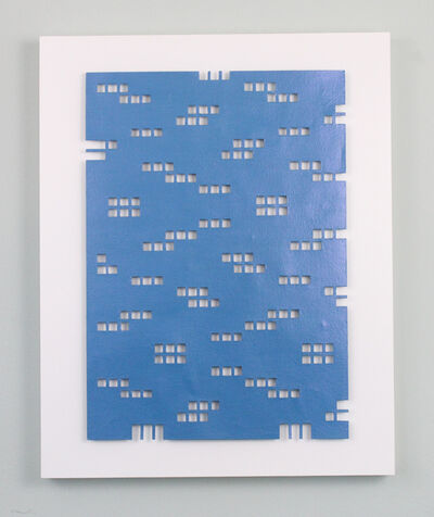 Tracey Meyer, 'What Shapes Us - 27, interesting blue sculpture with a hint of a pink interference sheen and clean cut apertures', 2020