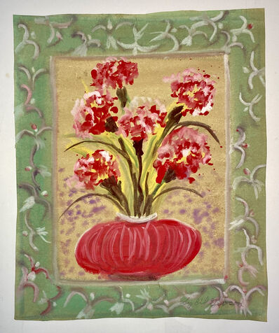 Sybil Gibson, 'Red Carnations with a Decorated Border', ca. 1976