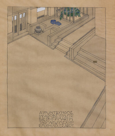 Rudolph Schindler, 'A Country Home in Adobe Constr' for Dr. T. P. Marin, Taos, New Mexico', 1915