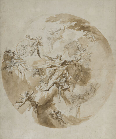 Carlo Innocenzo Carlone, 'Design for a ceiling decoration: The assumption of the virgin', ca. 1754-5