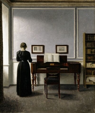 Vilhelm Hammershøi, 'Interior. With Piano and Woman in Black. Strandgade 30.', 1901