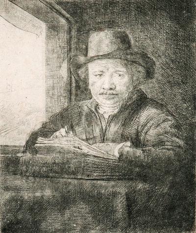 Rembrandt van Rijn, 'Self Portrait Drawing at a Window', 1648
