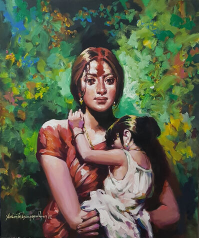 """Subrata Gangopadhyay, 'Mother & Child, Acrylic on Canvas, Red, Green, Yellow, Blue Colours by Contemporary Artist """"In Stock""""', 2018"""