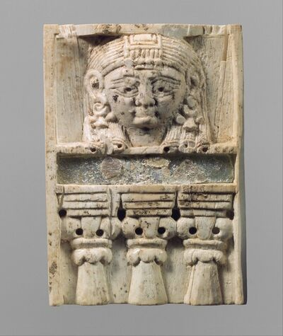 "Unknown Assyrian, 'Furniture plaque carved in relief with a ""woman at the window""', ca. 9th–8th century B.C."