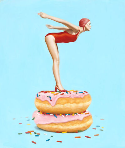 "Elise Remender, '""Day Dream"" Surrealistic oil painting of a woman in a red suit standing on donuts', 2019"