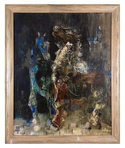 Edgar Jene, 'Large Surrealist painting 1956 LES DEUX CHEVAUX (THE TWO HORSES)', 1950-1959