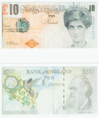 Banksy, 'Di-Faced Tenner, 10 GBP Note (2 works)', 2005
