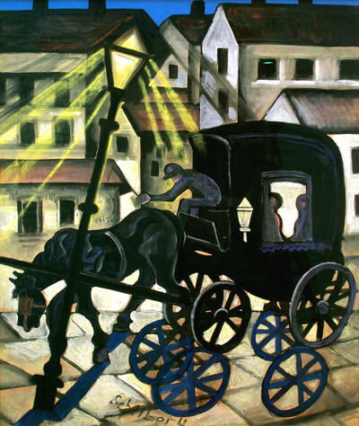 Hugó Scheiber, 'Carriage at Night', ca. 1930