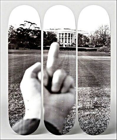 "Ai Weiwei, '""F#CK! The White House. with Certificate of Authenticity Hand Signed by Ai Weiwei - (100 Days of Trump) Set of Three (3) Lt Ed Skateboard Decks, Numbered from the Limited Edition of only 66 and signed on the deck with COA hand signed by Ai Weiwei', 2017"