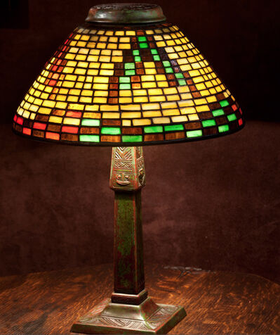 Tiffany Studios, 'Indian Basket Shade on Indian Basket Base', ca. 1905
