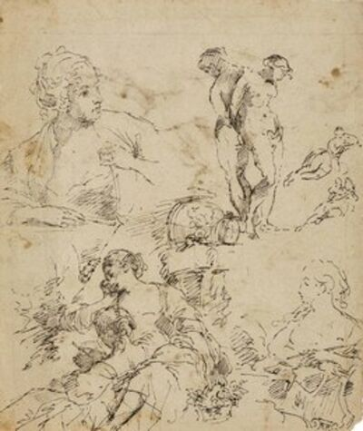 Attributed to Francesco Salvator Fontebasso, 'A double-sided sheet of figure studies, after François Boucher'