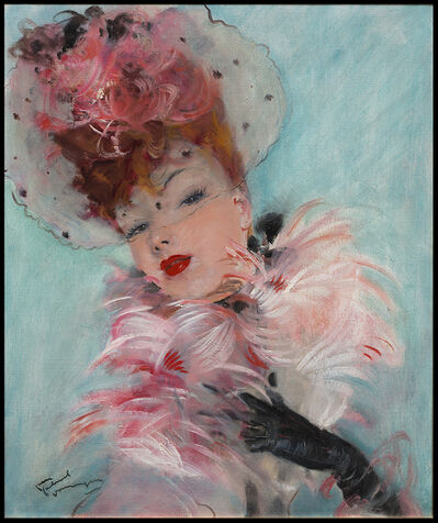Jean Gabriel Domergue, 'Portrait au Boa Rose', 20th Century
