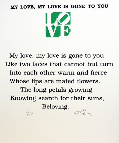 Robert Indiana, 'My Love, My Love is Gone To You Poem, Book of Love', 1996