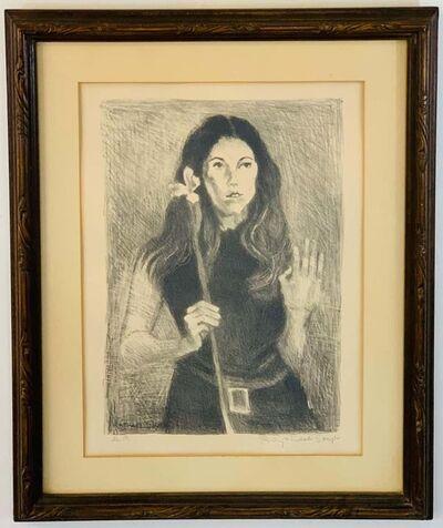 "Raphael Soyer, 'Raphael Soyer ""Girl Holding Flower"" Lithograph, Signed', ca. 1960"