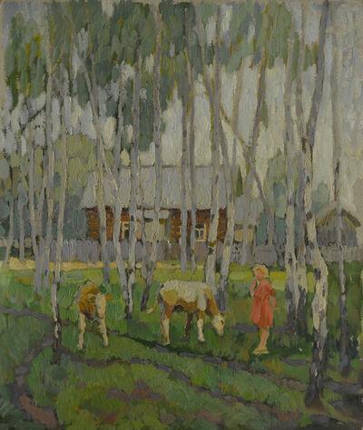 Vladimir Frolovich Stroev, 'Girl and calfs', 1979