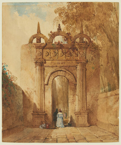 William Gawin Herdman, 'Fantasy Archway with Strolling Couple', 1835