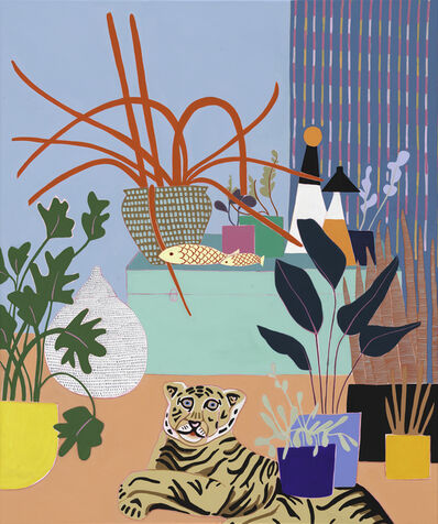 Mary Finlayson, 'Blue Box with Spider Plant',