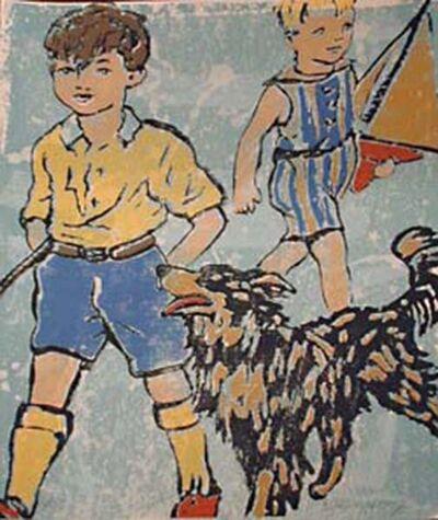 David Bromley, '2 Boys with their dog', 2005
