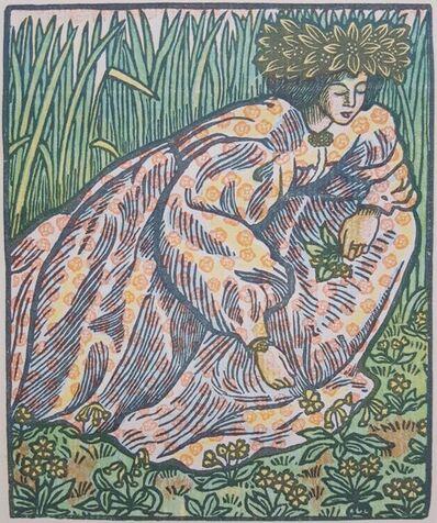 Lucien Pissarro, 'Quand Elle Va Sur L'herbe (Girl Picking Flowers)', 1919