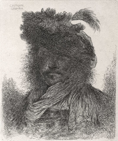 Giovanni Benedetto Castiglione, 'Bearded Man with Shadowed Face, Wearing a Scarf and a Plumed Hat, (3rd state)', 1645-1650