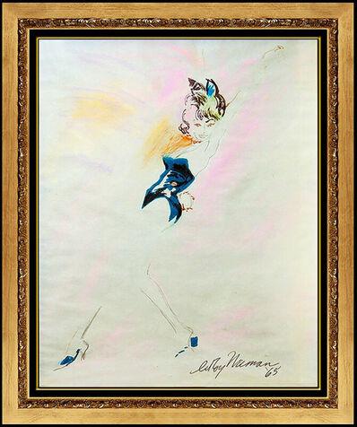 LeRoy Neiman, 'LeRoy Neiman Original Pastel Painting Signed Nude Femlin Portrait Playboy Art', 1950-1969