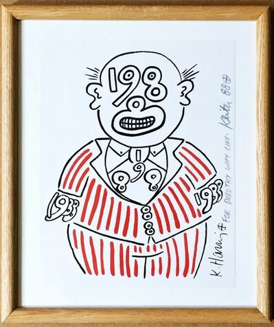 Keith Haring, '1988 Man, inscribed by Keith Haring to his beloved Miami dealer', 1988
