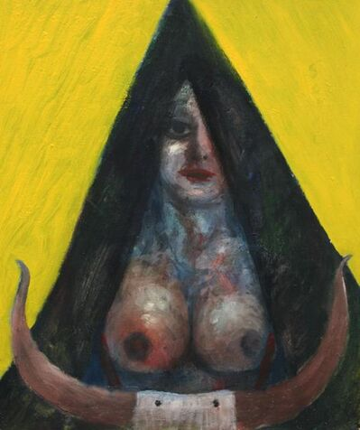 Tasaduq Sohail, 'Woman in black triangle with cow horns', 1982