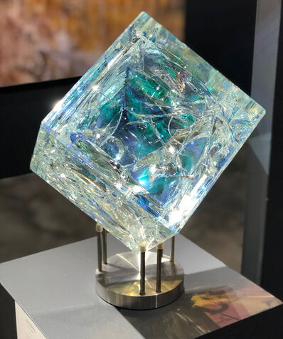 Tom Marosz, ''8 Inch Cube', Cut, Polished, Float, Glass, Crystal, Optic Dichroic Sculpture', 2017