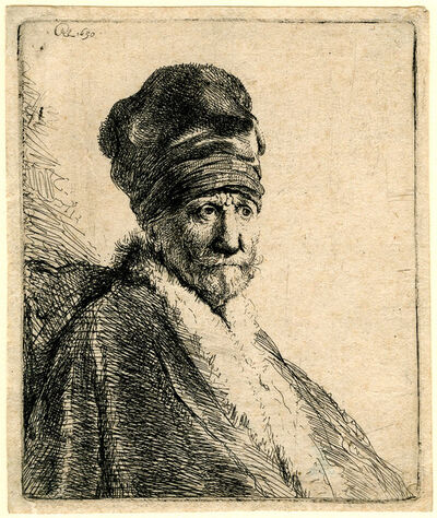 Rembrandt van Rijn, 'Bust of a Man Wearing a High Cap', after 1846