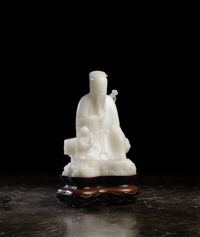 Unknown Chinese, 'A white chalcedony group depicting Lü Dongbin 白瑪瑙雕呂洞賓坐像', 1736-1795